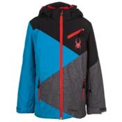 Spyder Ambush Boys Ski Jacket, Electric Blue-Black-Polar Wool, medium