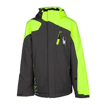 Spyder Guard Boys Ski Jacket (Previous Season), Black-Theory Green, viewer