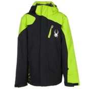 Spyder Guard Boys Ski Jacket, Black-Theory Green, medium