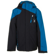Spyder Guard Boys Ski Jacket (Previous Season), Black-Concept Blue, medium