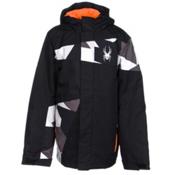 Spyder Snap Boys Ski Jacket, Black-Black Faceted Print-Bryt, medium