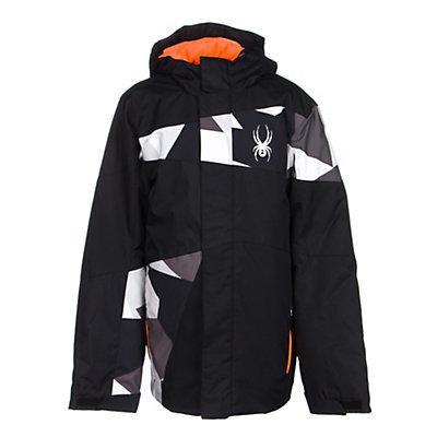 Spyder Snap Boys Ski Jacket (Previous Season), Black-Black Faceted Print-Bryt, viewer