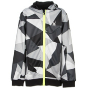 Spyder Invert Kids Soft Shell Jacket, Black Faceted Print-Bryte Yellow, medium