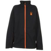 Spyder Core Constant Full Zip Kids Sweater, Black-Bryte Orange, medium