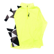 Spyder Linear Web DRY Kids Midlayer, Bryte Yellow-Black Faceted Print, medium