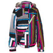 Spyder Lola Girls Ski Jacket, Black Vybe Print-Green Flash-W, medium