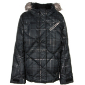 Spyder Hottie Girls Ski Jacket, Black Check Plaid Print-Black, medium