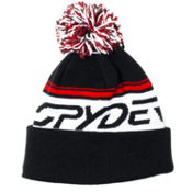 Spyder Icebox Kids Hat, Black-White-Volcano, medium