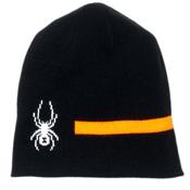 Spyder Duo Reversible Kids Hat, Black-Bryte Orange-White, medium