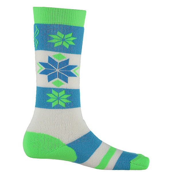 Spyder Snowflake Girls Ski Socks - 3 Pack Girls Ski Socks (Previous Season), Green Flash-Riviera-White, 600