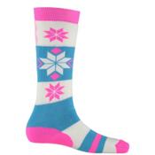 Spyder Snowflake Girls Ski Socks - 3 Pack Girls Ski Socks, Bryte Bubblegum-White-Riviera, medium