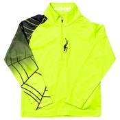 Spyder Mini Linear Web Dry W.E.B. Kids Midlayer, Theory Green-Black, medium