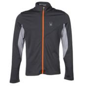 Spyder Eiger Wool T-Neck Mens Mid Layer, Polar-Cirrus-Bryte Orange, medium