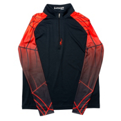 Spyder Linear DRY Web T-Neck Mens Mid Layer, Black-Volcano, medium