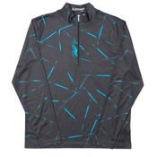 Spyder Anti Web Dry WEB T-Neck Mens Mid Layer, Black-Electric Blue, medium