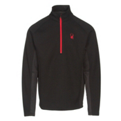 Spyder Core Outbound Half-Zip Mens Sweater, Black-Black-Red, medium