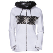 Spyder Core Soiree Faux Fur Hood Womens Sweater, White-Black-Image Gray, medium