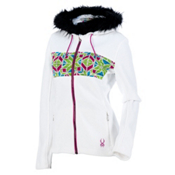 Spyder Core Soiree Faux Fur Hood Womens Sweater, White-Multi, medium