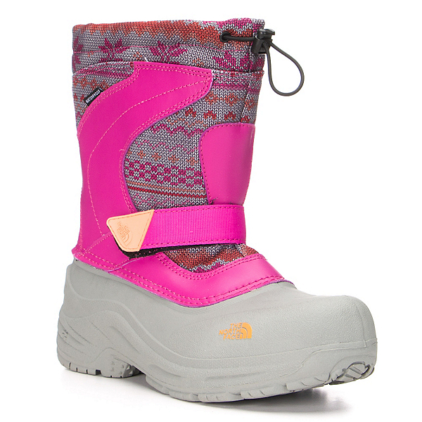 The North Face Alpenglow Pull-On Girls Boots, Luminous Pink-Impact Orange, 600