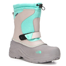 The North Face Alpenglow Pull-On Girls Boots, Atmosphere Grey-Surf Green, 256