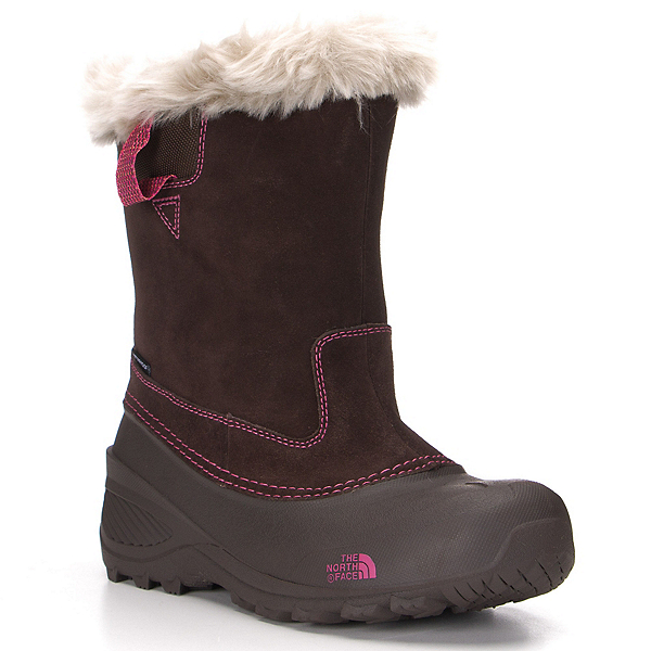The North Face Shellista Pull-On II Girls Boots, Demitasse Brown-Luminous Pink, 600