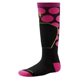 SmartWool Ski Racer Girls Ski Socks, Black-Bright Pink, 256