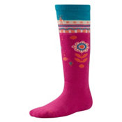 SmartWool Wintersport Flower Patch Kids Ski Socks, Bright Pink, medium