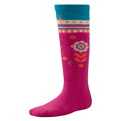 SmartWool Wintersport Flower Patch Kids Ski Socks, Bright Pink, viewer