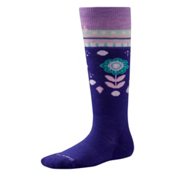 SmartWool Wintersport Flower Patch Kids Ski Socks, Liberty, medium