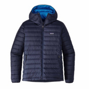 Patagonia Down Sweater Hoody Mens Jacket, Navy Blue, medium