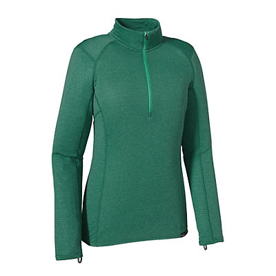 Patagonia Capilene Thermal Zip Neck Womens Long Underwear Top, Arbor Green-Aqua Stone X Dye, viewer