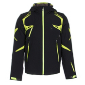 Spyder Pinnacle Mens Insulated Ski Jacket, Black-Theory Green-Bryte Yello, medium