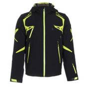 Spyder Pinnacle Mens Insulated Ski Jacket, Black-Theory Green-Bryte Yello, medium