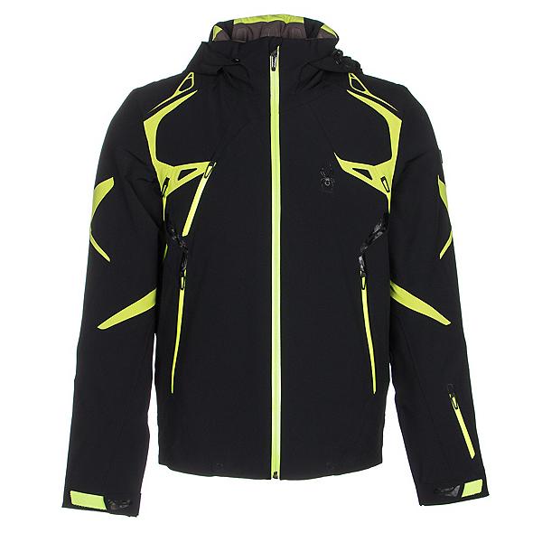 Spyder Pinnacle Mens Insulated Ski Jacket (Previous Season), Black-Theory Green-Bryte Yello, 600