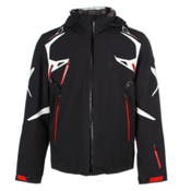 Spyder Pinnacle Mens Insulated Ski Jacket, Black-Cirrus-Volcano, medium