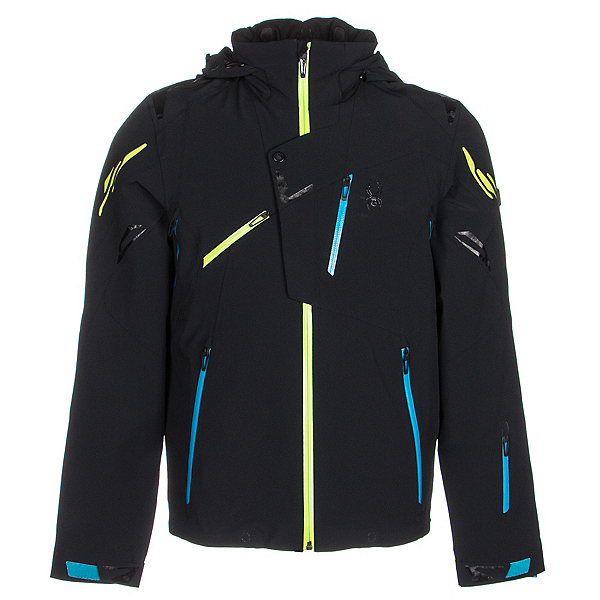 Spyder Monterosa Mens Insulated Ski Jacket (Previous Season), Black-Electric Blue-Theory, 600