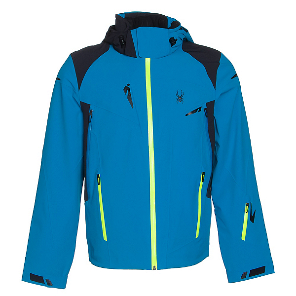 Spyder Bromont Mens Insulated Ski Jacket (Previous Season), Electric Blue-Black-Bryte Yell, 600