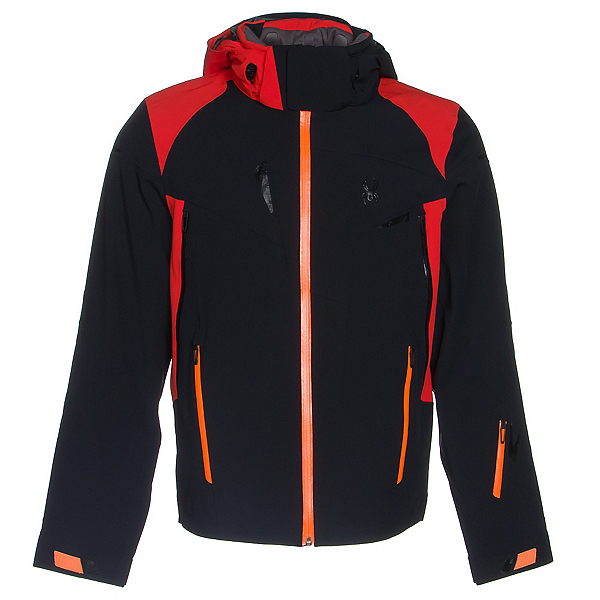 Spyder Bromont Mens Insulated Ski Jacket (Previous Season), Black-Volcano-Bryte Orange, 600