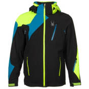 Spyder Vyper Mens Insulated Ski Jacket, Black-Electric Blue-Bryte Yellow, medium