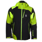 Spyder Leader Mens Insulated Ski Jacket, Black-Theory Green-Bryte Yello, medium