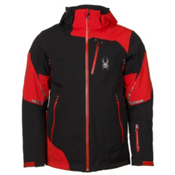 Spyder Leader Mens Insulated Ski Jacket, Black-Volcano-Black, medium