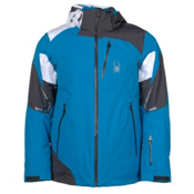 Spyder Leader Mens Insulated Ski Jacket, Electric Blue-Polar-White, medium