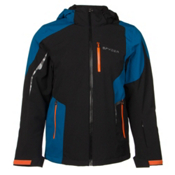 Spyder Chambers Mens Insulated Ski Jacket, Black-Concept Blue-Bryte Orang, medium