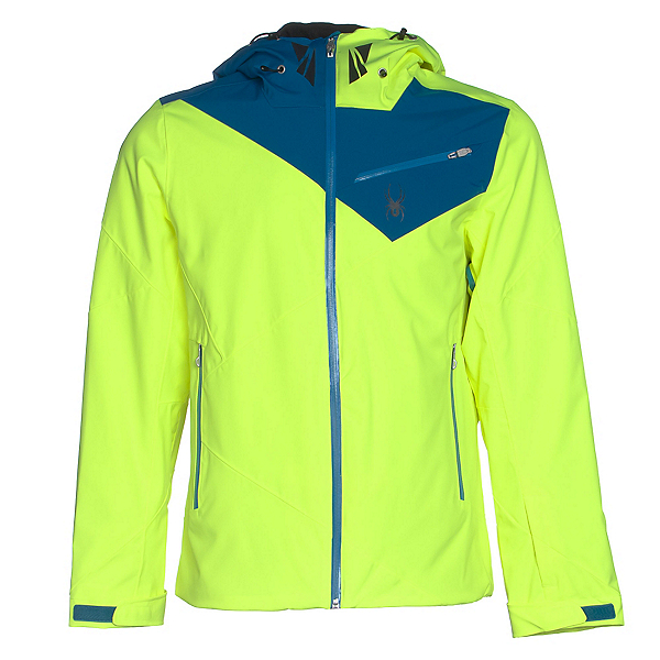 Spyder Enforcer Mens Insulated Ski Jacket (Previous Season), Bryte Yellow-Concept Blue-Electric Blue, 600
