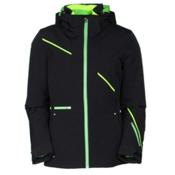Spyder Prevail Womens Insulated Ski Jacket, Black-Green Flash-Bryte Yellow, medium