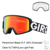 Giro Semi Goggles 2017, Black Futura-Persimmon Blaze + Bonus Lens, medium