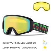 Giro Semi Goggles 2016, Black Poncho-Loden Yellow + Bonus Lens, medium