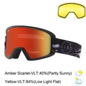 Giro Semi Goggles 2017, Black-Grey 8mm-Amber Scarlet + Bonus Lens, medium