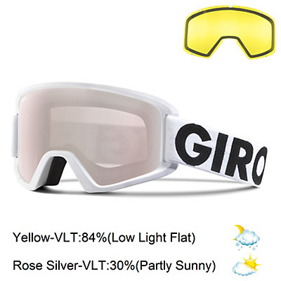 Giro Semi Goggles, White Futura-Rose Silver + Bonus Lens, viewer