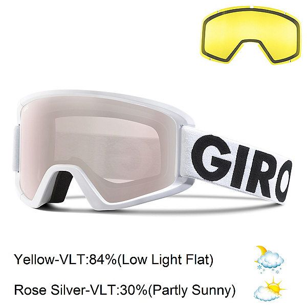 Giro Semi Goggles, White Futura-Rose Silver + Bonus Lens, 600
